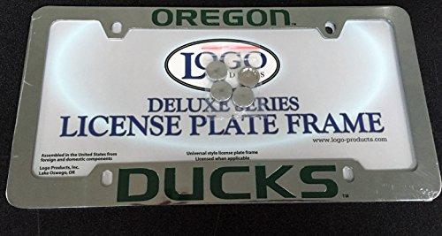 DELUXE License Plate Frame - U of Oregon - DUCKS - Die Cast Metal