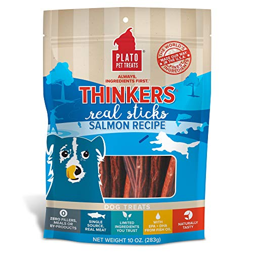 PLATO, Pet Treats, Thinker Sticks Soft Chewy Dog Treats, Air-Dried in USA, Salmon, 10 oz Bag