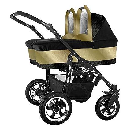 Carro gemelar completo. Capazos+sillas+accesorios. Negro+dorado. BBtwin