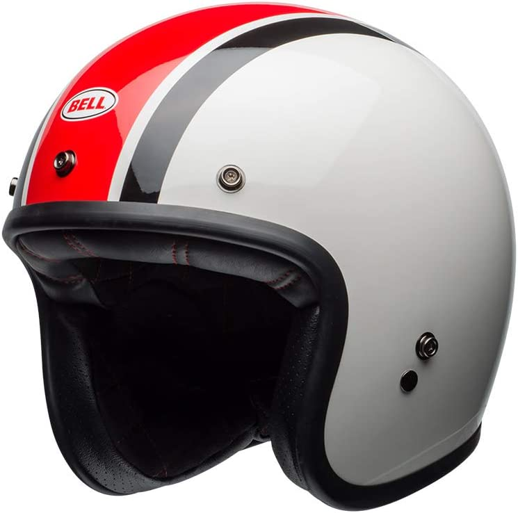 7095629 Bell Custom 500 Ace Cafe Stadium Open Face Motorcycle Helmet XS Silver Red Black
