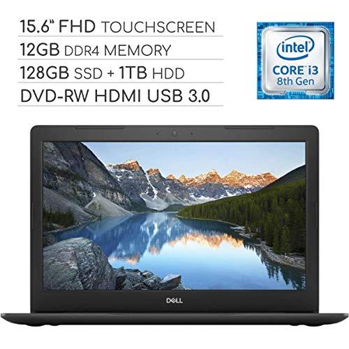 Dell Inspiron 15 5000 Laptop Computer 2019, 15.6 inch FHD Touchscreen Notebook, Intel Core i3-8130U 2.2Ghz, 12GB DDR4 RAM, 128GB SSD + 1TB HDD, DVD-RW, Backlit Keyboard, Wi-Fi, Webcam, Windows 10