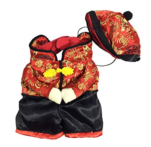 Dog New Years Costume (SELMAI New Year Dog Chinese Costume Fleece Dog Jacket Coats with Hat Small Pet Clothes XL)