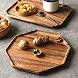 Set of 2 Acacia Wooden Octagon Square Trays Serving Bread Plates for Fruit Salad Platter Vegetable Food Dish