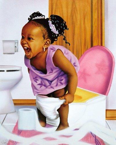 African American Potty Girl (10x8 inches - Unframed Art Print - Black Bathroom Art)