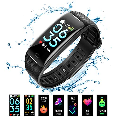 Fitness Tracker, Activity Tracker Watch with Heart Rate Blood Pressure Monitor, Waterproof Smart Fitness Band with Step Counter, Sleep Monitor,Calorie Counter, Pedometer Watch for Kids Women and Men