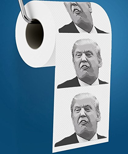 Donald Trump Toilet Paper, Includes Donald Trump Joke eBook & Dump Trump Bumper Sticker, Funny Novelty Toilet Paper, Best Gag Gift Political Prank Gifts for Democrats & Republicans.