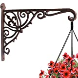 Cast Iron Plant Hook Hanger Wall Mounted 12'' Deep Outdoor Indoor Hanging Planters Flower Flowering Plants Pot Basket Hook Bird Feeder Wind Chime Lanterms Hanger Hook Utility Hook Hardware Bracket