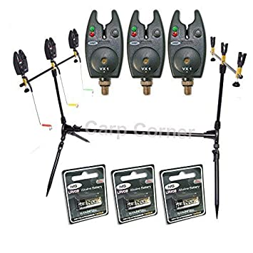 NGT Carp Fishing Rod Pod 3x Black Bite Alarms With Volume ...