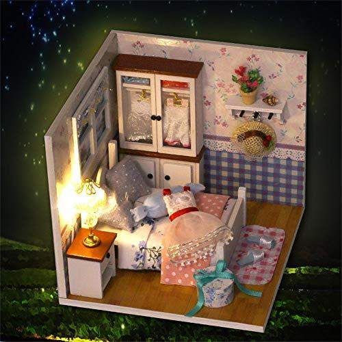 LtrottedJ DIY Christmas House Assemble Miniature Dollhouse LED Furniture Kit Xmas Gift -