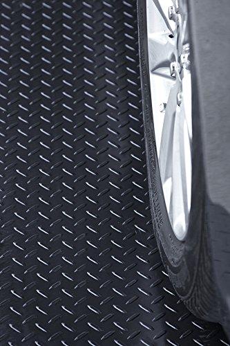 Resilia - Black Garage Floor Runner/Protector - Embossed Diamond Plate Pattern, 48 inches Wide (4 feet x 20 feet)
