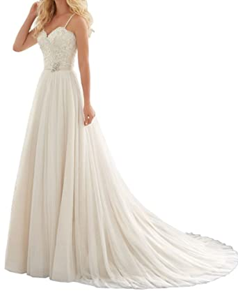 b161a64eb27 Lovelybride Women s Spaghetti Straps Lace Chiffon Wedding Dress Bridal Gown  at Amazon Women s Clothing store