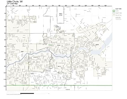 Little Chute Wi >> Amazon Com Zip Code Wall Map Of Little Chute Wi Zip Code