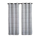 Amadora Gray Grommet Room Darkening Window Curtain Panels, Pair / Set of 2 Panels, 38×84 inches Each, by Royal Hotel For Sale