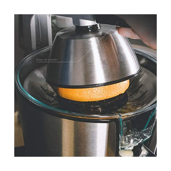 Ufesa EX4950 Spremiagrumi, 600W, Versamento continuo, Salvagoccia, Doppio cono, Filtro in acciaio inox, Braccio per… 6
