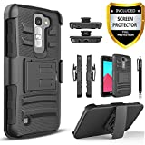 LG K7 Case, Combo Rugged Shell Cover Holster with Built-in Kickstand and Holster Locking Belt Clip + Circle(TM) Stylus Touch Screen Pen and Screen Protector - Black