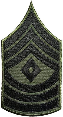 Papapatch 1st Sergeant E-8 Chevrons Rank US Army Military Uniform Shoulder Embroidered Applique Sewing Iron on Patch - OD (Olive Drab)(1 ()
