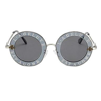 6c15c692b Forthery Women's Sunglasses Fashion Retro Letter Round Circle Wayfarer  Eyeglasses Uv400 Small G