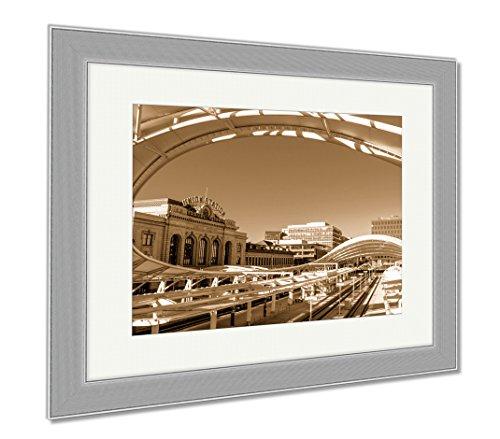 Ashley Framed Prints Denver Union Station Train Depot, Wall Art Home Decoration, Sepia, 34x40 (frame size), Silver Frame, - Denver Shops Station Union