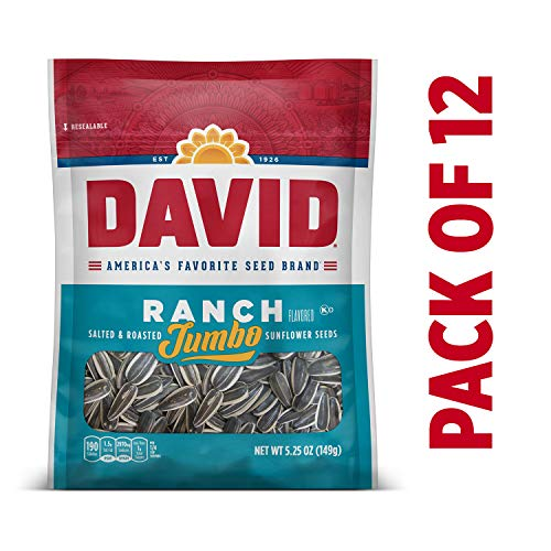 DAVID Roasted and Salted Ranch Jumbo Sunflower Seeds, 5.25 oz, 12 Pack ()