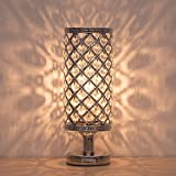 HAITRAL Crystal Table Lamp - Silver Bedside Desk Lamp with Crystals Lamp Shade Metal Base Decorative Room Night Light Lamps for Living Room, Bedroom, Bedside Table, Ideal Gifts (HT-BD017S)