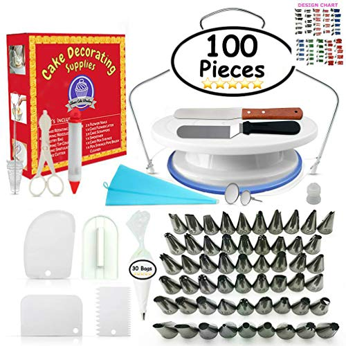 Cake Decorating Supplies - (100 PCS SPECIAL CAKE DECORATING KIT) With 55 PCS Numbered Icing Tips, Cake Rotating Turntable and More Accessories! Create AMAZING Cakes With This Complete Cake Set! by Aleeza Cake Wonders