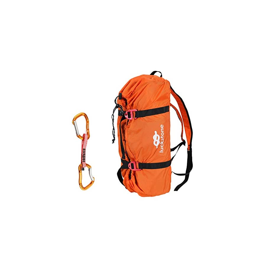 Dovewill Folding Ultralight Rock Climbing Caving Mountaineering Rescue Rope Sling Cord Bag Gear Equipment Carry Shoulder Backpack with Quickdraw Carabiner Hook