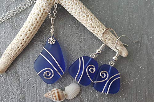 Handmade in Hawaii, wire wrapped cobalt Sapphire blue sea glass necklace + earrings jewelry set,