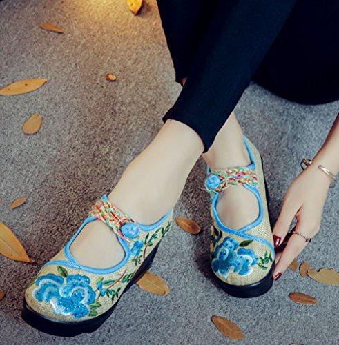 Avacostume Kvinners Peon Broderi Plattform Kile Kinesisk Stil Kjole Sko Blå