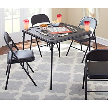 Folding Game Table Integrated Domino/card Holders Molded Cup Holders Folds