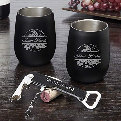 Rhone Valley Stainless Steel Custom Stemless Wine Glasses Set (Personalized Product) ()