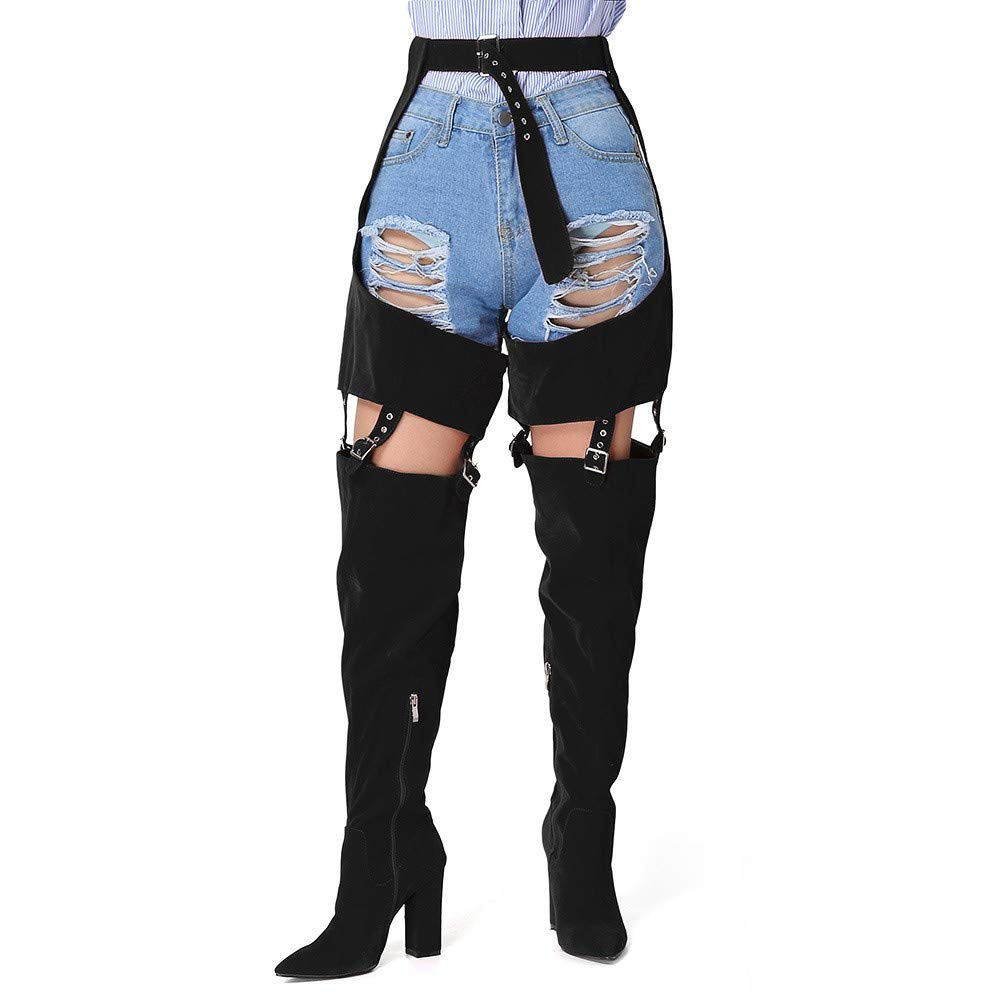 81df5b8e83909 Amazon.com  Tall Boots High Strap Zip Heel Boots Winter Boots Over The Knee  High Heel Boots  Clothing