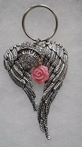 Mom Memorial Angel Wings Keychain Ornament In Memory Sympathy Gift (Rear Split Tip)