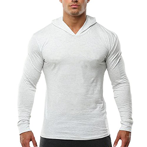 palglg Men's Bodybuilding Tapered Slim Fit Sweatshirts V Neck Active Hoodies White L