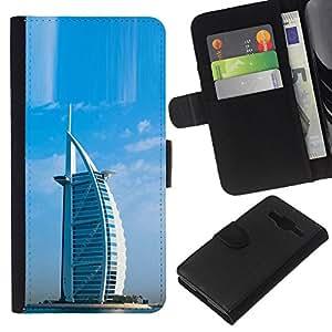 Leather Etui en cuir    Samsung Galaxy Core Prime    Arquitectura Burj Dubai Hotel árabe @XPTECH