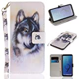 Misteem Case for Samsung Galaxy S9 Plus Animal, Cartoon Anime Comic Leather Case Wallet with Bookstyle Magnetic Closure Card Slot Holder Flip Cover Shockproof Slim Creative Pattern Shell Protective Cover for Samsung Galaxy S9 Plus [White Wolf]