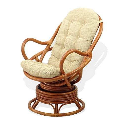 Amazon.com: Java Swivel Rocking Chair Colonial With Cushion Handmade  Natural Wicker Rattan Furniture: Kitchen U0026 Dining