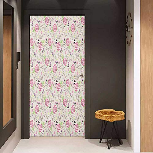 Onefzc Door Sticker Mural Floral Artistic Composition with Rose Blooms Flower Buds Lively Summer Dahlia Ornaments WallStickers W31 x H79 Multicolor