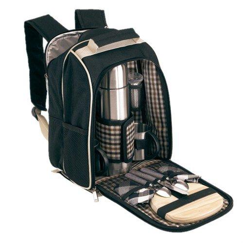 geschenkartikel-shopping Picknickrucksack für 2 Personen mit Thermoskanne und Holzbrettchen in schwarz-beige von noTrash2003 SWJTS