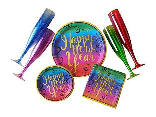 New Year's Party Supplies For 18 Guests - Colorful Pack Includes Dinner Plates, Appetizer/Dessert Plates, Napkins & Champagne Flutes
