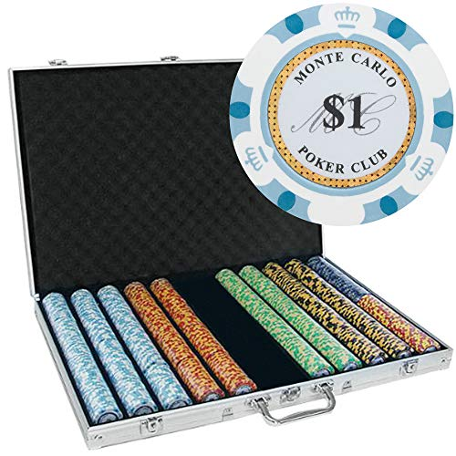 - Brybelly 1,000 Ct Monte Carlo Poker Set - 14g Clay Composite Chips with Aluminum Case, Playing Cards, & Dealer Button
