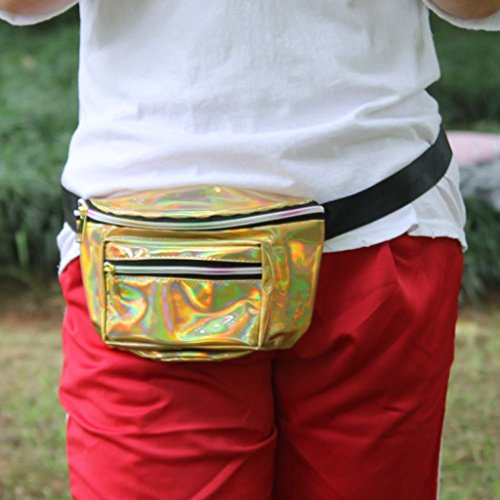 Pouch Fenteer described Fanny Waist Adjustable Strap Bum Men Bag Money Running Gold as Belt Silver Pack wRwOP