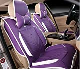 Amooca Compatible Universal Full Front Rear Ice Silk PU Fabric Car Seat Cushion Cover Fit for BMW Honda Toyota Purple 8pcs
