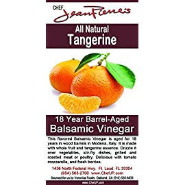 Tangerine Aged 18 Years Italian Balsamic Vinegar 100% All Natural 6 Dark color, syrupy consistency, rich aroma and complex flavor of Tangerine Aged in 6 types of wood for a minimum of 18 years 100% natural, Certified organic No additive, NO sugar added, NO preservative of any kind