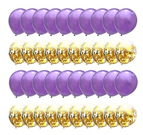 Confetti Balloons Gold Purple Metallic Balloon Wedding Bridal Shower Birthday Party Favor Suppliers 12inch