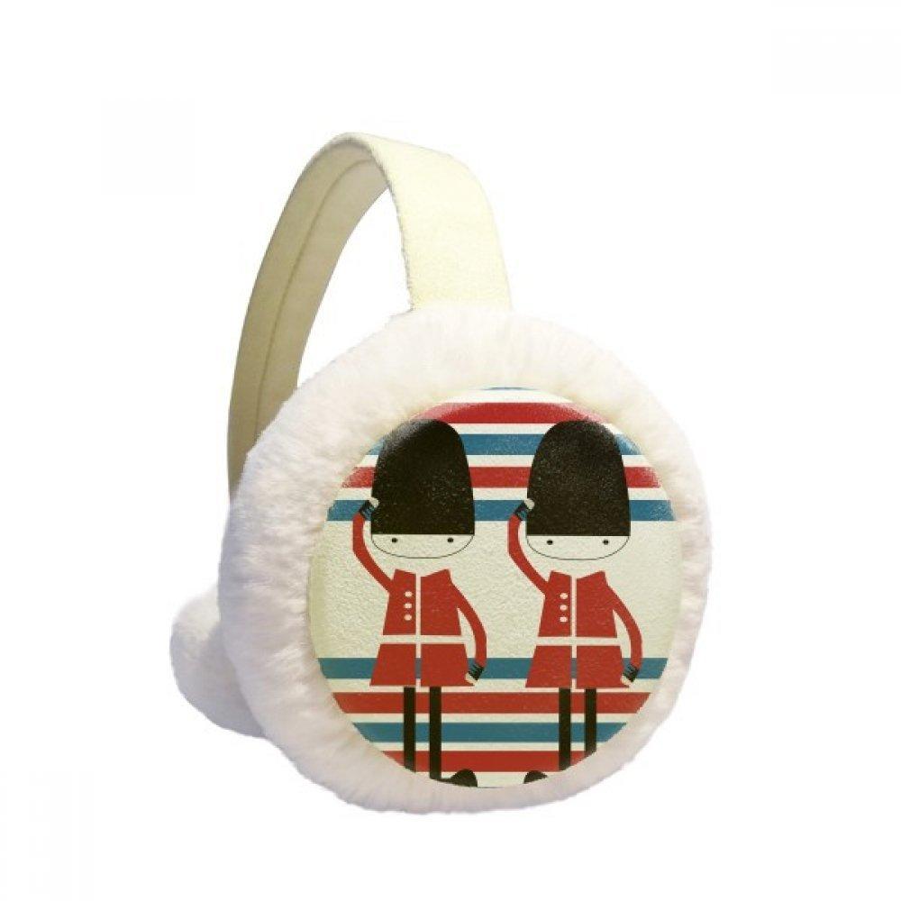 Colorful Soldier UK Landmark Flag Winter Earmuffs Ear Warmers Faux Fur Foldable Plush Outdoor Gift