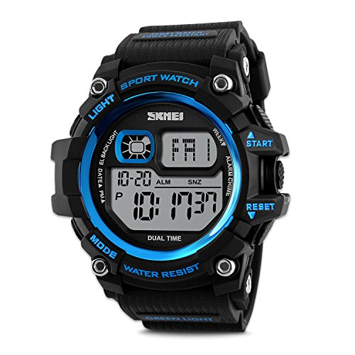 Men's Digital Sports Watch, Big Dial Digital LED Backlight Alarm Countdown Military 50M Water-resistant Multifunction Chronograph Wristwatches Outdoor (Chronograph Mens Watch)