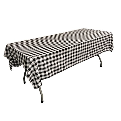 La linen checkered tablecloth 60 by 102 inch black home for 102 inch table runners
