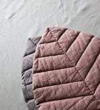 Nursery mat leaf playmat linen baby cover rug floor pouf blanket dusty pink girl mat padded linen pillow cushion gift for newborn