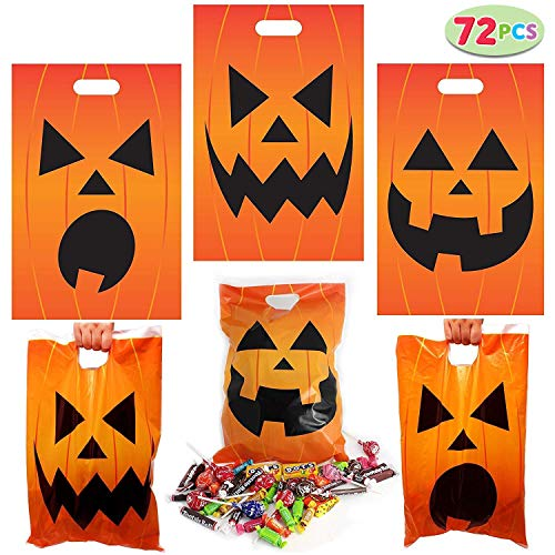72 Pieces Halloween Jack O Lantern Trick Or Treat Bags for Trick-or-Treating, Halloween Party Favors, Halloween Snacks, Event Party Supplies, Halloween Goodie Bags for $<!--$11.99-->