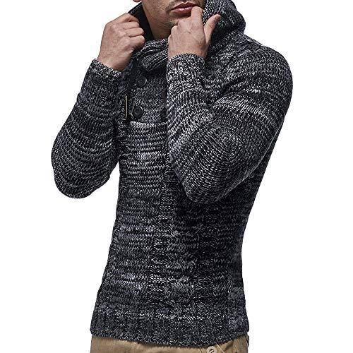 Manteau Cardigan Hommes Tricoté Kobay Hiver Automne Pull Capuche Outwear Noir Veste À fwIXfpqWa
